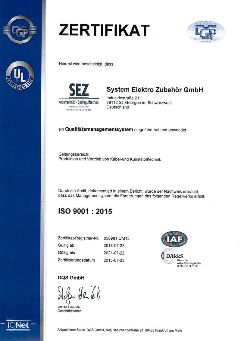 Zertifizierung SEZ - ISO 9001 : 2015  - D