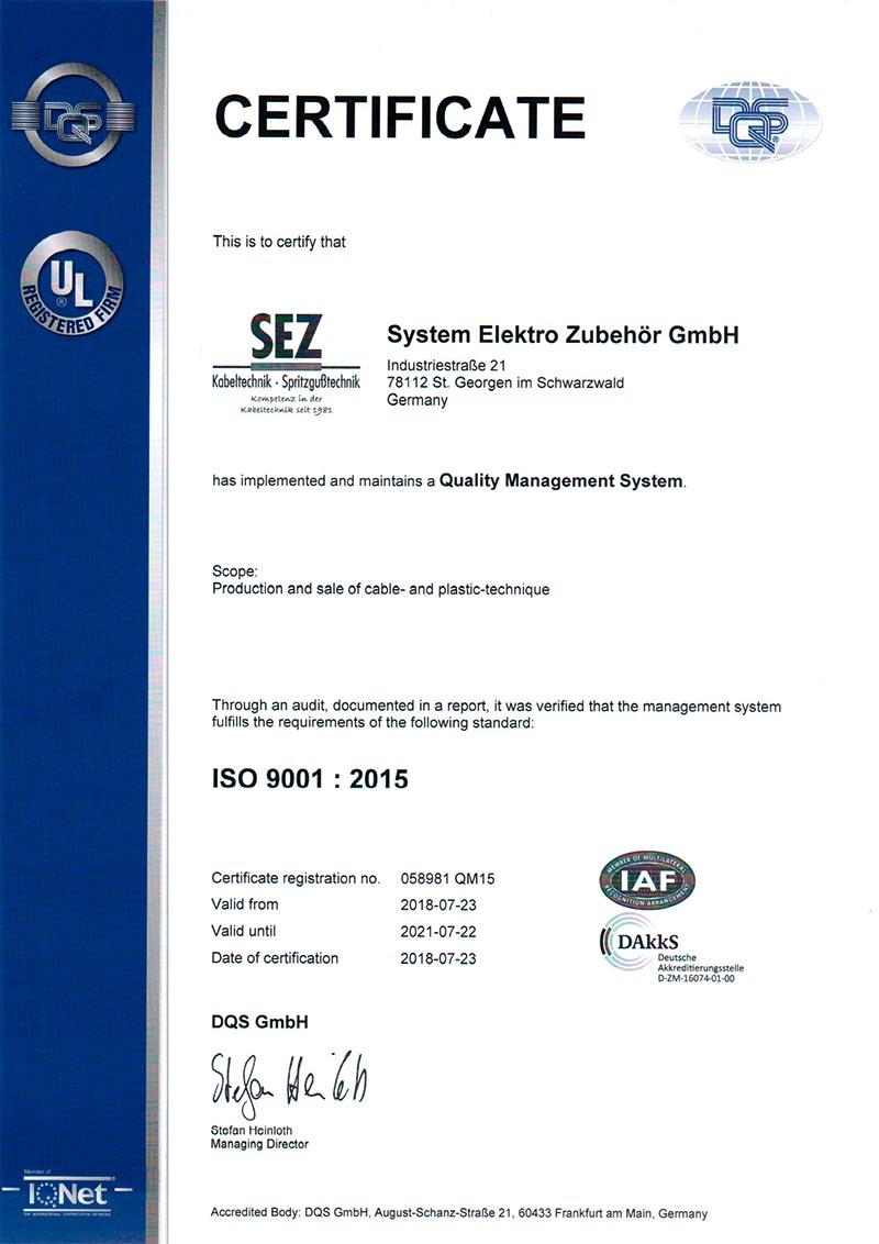Zertifizierung SEZ - ISO 9001 : 2015  - FR