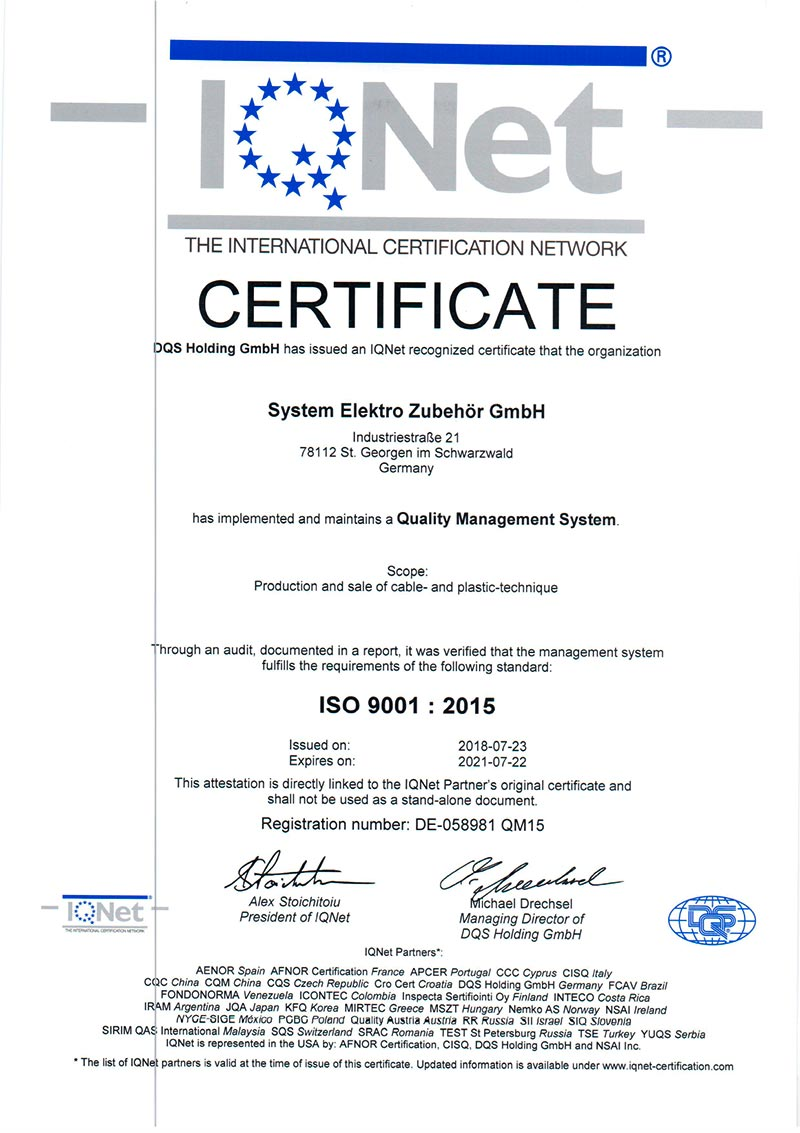 Zertifizierung SEZ - ISO 9001 : 2015  - EN